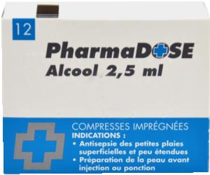 Alcool a usage medical gilbert 2,5 ml, compresse imprégnée